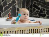 Baby Bath Tub 2 Year Old Little Baby Boy Taking A Bath Playing Stock Image