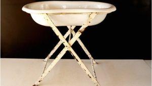 Baby Bath Tub with A Stand Antique European Graniteware Porcelain Enamel Baby Bath