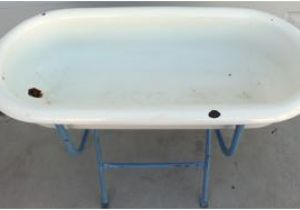 Baby Bathtub and Stand Very Unusual Antique Enamel Baby Bathtub On Stand