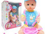 Baby Doll Bathtub toy Reborn Baby 15 Inch Bath toy Feed Bottle Hat T Box Blue