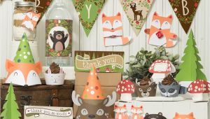 Baby Shower Decoration Kits Woodland Party Printable Decor Kit Fox Baby Deer Raccoon Bear Bunny