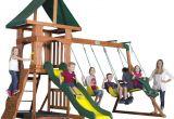 Backyard Discovery Dayton Cedar Wooden Swing Set Kids Playset Roomy Step Ladder Upper Deck Belt Swing Canopy Rock