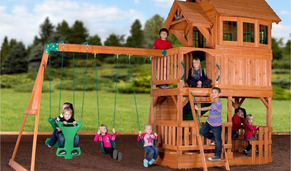 Backyard Discovery Tanglewood Cedar Wooden Swing Set Liberty Ii