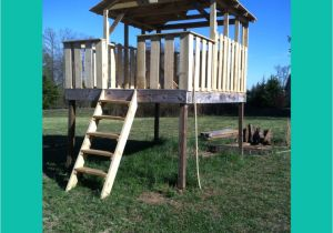 Backyard fort Kit Almost there with the Treeless Treehouse Tree Houses Pinterest