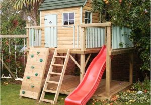 Backyard fort Kit Garden Playhouse with Ladder and Red Slide Backyard Pinterest