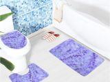 Bathtub Non Slip Stickers Bathroom Mat Set Purple Lavender Colored Flowers Pattern Bath Mat