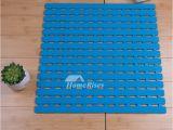 Bathtub Plastic Mat Blue Bath Mat Square Plastic Suction Cup Non Slip Print