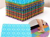 Bathtub Plastic Mat Colorful Splicing Anti Slip Mat Bathroom Massage Strong