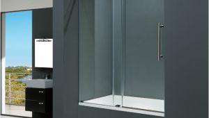 """Bathtubs Doors E Vigo 60 Inch Frameless Tub Door 3 8"""" Clear Chrome Hardware"""