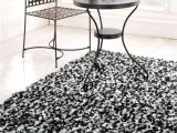 Big Fur area Rug area Rugs Fancy Round oriental Rug On Black and White Shag