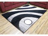 Black and White Fuzzy Rug Ltd Empire Gloria Black Gray Polypropylene Shag area Rug 7 10 X 10