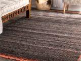 Black and White Striped Runner Rug Nuloom Modern Flatweave Striped Dark Grey Cotton and Wool Handmade