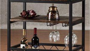 Black Bar Cart with Wine Rack Rustic Rolling Wine Serving Cart Bar Portable Utility Table Brown