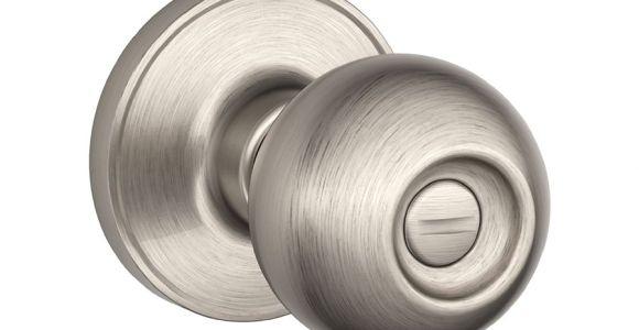 Brushed Nickel Interior Door Knobs Lowes Schlage J Corona Satin Nickel Round Turn Lock Privacy Door Knob J40