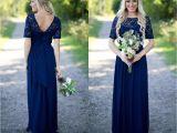 Cap Sleeve Bridesmaid Dresses Floor-length Uk 2018 Country Bridesmaid Dresses Hot Long for Weddings Navy Blue