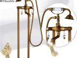 Ceramic Freestanding Bathtub Antique Brass Freestanding Bathtub Faucet Set Dual Ceramic