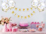 Cheap 65th Birthday Decorations Happy Birthday Banner 6 Pieces Gold Confetti Balloons Party