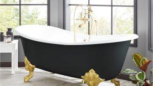 """Clawfoot Bathtub Black 72"""" Lena Cast Iron Clawfoot Tub Monarch Imperial Feet"""