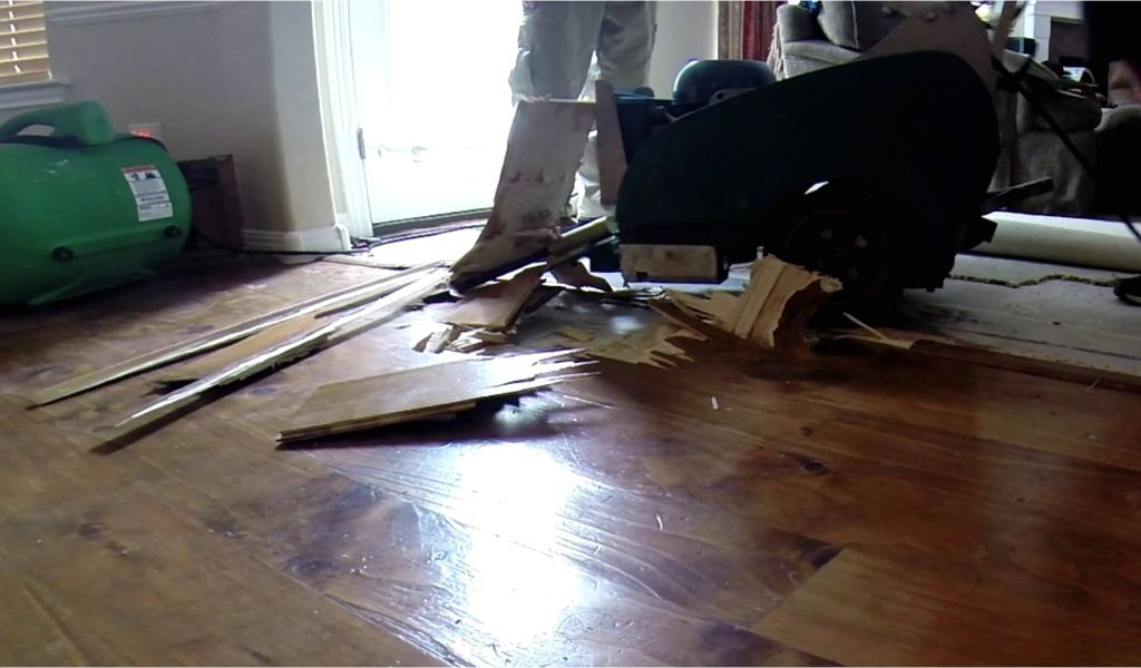 Concrete Floor Scraper Removing Hardwood Floor With A Floor Scraper