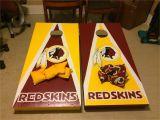 Corn Hole Lights Hand Painted Washington Redskins Football themed Cornhole Set