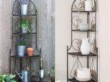 Corner Bakers Rack with Storage Indoor Outdoor Corner Bakers Rack Folding Metal Plant Stand with 4
