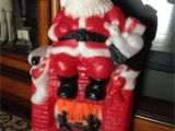 Decorative Santas 1981 Santa Setting On Fireplace Blow Mold Christmas Blow Molds