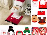 Decorative Santas Best Fengrise Santa Claus Rug toilet Seat Cover Bathroom Set Merry