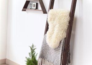 Diy Wooden Blanket Rack 6 Ft Wide Wooden Decorative Ladder 5 Rung Stained Dark Walnut