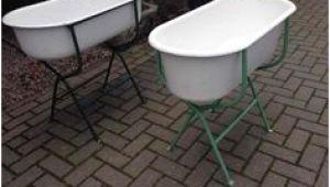 Enamelware Baby Bathtub Vtg Old White Black Trim Porcelain Enamel Baby Tub Antique