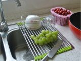 Extra Large Stainless Steel Dish Drying Rack Roll Up Folding Over the Sink Multipurpose Roll Up Dish Drying Rack