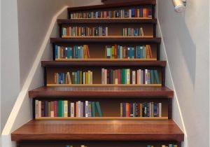 Fake Books For Shelf Decor Cute Diy 3d Stairway Stickers Bookshelf Stairs Floor