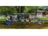Flexible Flyer Backyard Swingin Fun Metal Swing Set Amazon Com Flexible Flyer Fantastic Playground Metal Swing Set