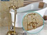 Freestanding Bath Filler Faucet Modern Freestanding Dual Cross Handles Bathtub Faucet Tub
