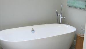 Freestanding Bathtub Enamel Bathroom with Freestanding Tub On Pebble Tile Floor and