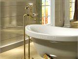 Freestanding Bathtub Faucet Gold Luxury Golden Vintage Handle Freestanding Bahttub Faucet