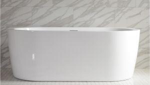 Freestanding Bathtub with End Drain Augusta59e 59 Inch Long End Drain High Gloss White