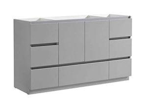 "Freestanding Grey Bathroom Storage Fresca Lazzaro 60"" Gray Free Standing Single Sink Modern"