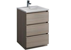 "Freestanding Grey Bathroom Storage Lazzaro 24"" Gray Wood Free Standing Modern Bathroom"