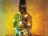 Glass Bottle Decoration Ideas Hand Painted Recycled Glass Bottle with Lights This Bottle is
