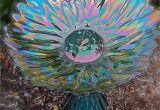 Glass Plate Flower Garden Art Glass Bird Bath Glass Garden Art Yard Art Repurposed Recycled Up