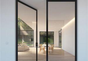 Half Light Door Double Glass Door with Steel Look Frames Portapivot H O M E