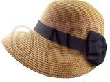 Hat with Lights In Brim Womens Straw Summer Hats Ladies Wide Brim Stylish Black Bow Detail
