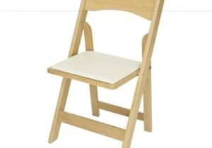 High Seat Heavy Duty Beach Chairs Classic Series Natural Wood Folding Chair with Ivory Vinyl Padded