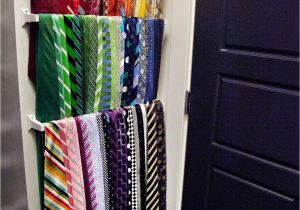 Homemade Tie Rack towell Bar for Shallow Storage Ties Scarfs these Could Be