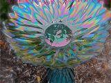 How to Make Inexpensive Flower Plate Garden Art Glass Bird Bath Glass Garden Art Yard Art Repurposed Recycled Up