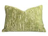 Large Velvet Floor Cushions Designer Faux Bois Wood Grain Green Beige Velvet Texture Pillow