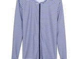 Light Blue Long Sleeve Shirt Womens Womens Plus Size Long Sleeve Rash Guard Shirt with Zipper and Upf 50