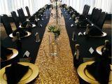 Light Pink Table Cloth Black Table Linens Gold Charger Plates Black Napkins Pyramid Fold