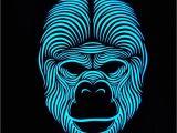 Light Up Masks for Raves top Secret G O R I L L A Full Face Led sound Activated Rave Etsy