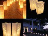Lighted Paper Lanterns 25cm White Paper Lantern Candle Bag for Led Light Lampion Heart for
